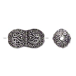 bead, antique silver-plated brass, 21x11mm fancy dog bone. sold per pkg of 2.