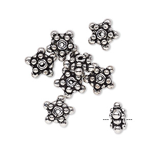 bead, antique silver-plated copper, 9x5mm fancy star. sold per pkg of 8.