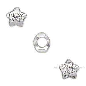 bead, antique silver-plated pewter (tin-based alloy), 10.5x10mm double-sided star with lucky star on one side and stars and moons on other, 5mm hole. sold individually.