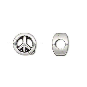 bead, antique silver-plated pewter (tin-based alloy), 11mm double-sided flat round with peace sign, 5mm hole. sold individually.