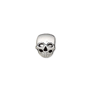bead, antique silver-plated pewter (tin-based alloy), 11x9mm double-sided skull, 5mm hole. sold individually.