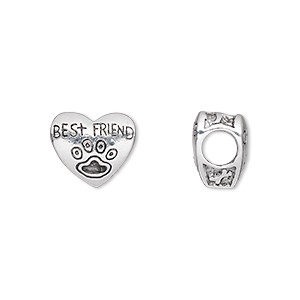 bead, antique silver-plated pewter (tin-based alloy), 12.5x11mm double-sided heart with best friend and paw print, 5mm hole. sold individually.