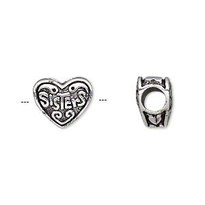 bead, antique silver-plated pewter (tin-based alloy), 12x11mm double-sided heart with sisters, 5mm hole. sold individually.