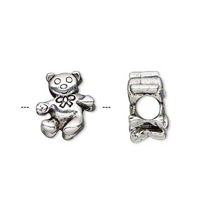 bead, antique silver-plated pewter (tin-based alloy), 12x13mm double-sided teddy bear with bow, 5mm hole. sold individually.