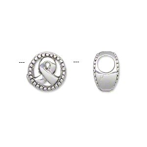bead, antique silver-plated pewter (tin-based alloy), 12x8mm double-sided flat round with awareness ribbon center and beaded edge, 5mm hole. sold individually.
