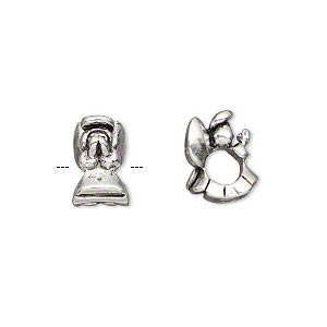 bead, antique silver-plated pewter (tin-based alloy), 12x8mm praying angel, 5mm hole. sold individually.