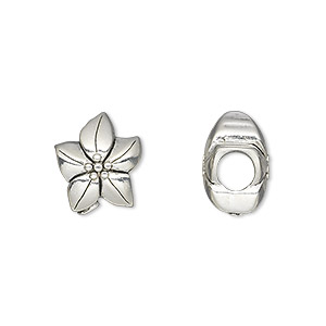 bead, antique silver-plated pewter (tin-based alloy), 13.5x11.5mm double-sided flower, 5mm hole. sold individually.