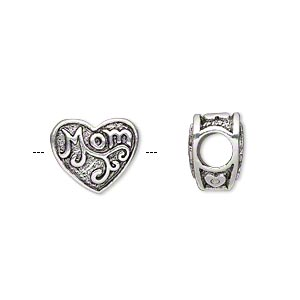 bead, antique silver-plated pewter (tin-based alloy), 13x11mm double-sided heart with mom, 5mm hole. sold individually.