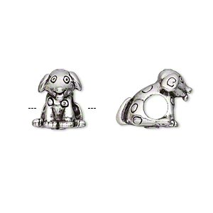 bead, antique silver-plated pewter (tin-based alloy), 13x11mm sitting dog with spots, 5mm hole. sold individually.