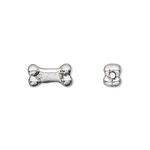 bead, antique silver-plated pewter (tin-based alloy), 13x5.5mm dog bone. sold per pkg of 2.