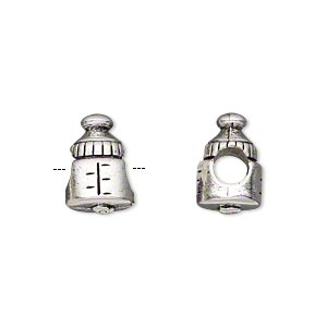 bead, antique silver-plated pewter (tin-based alloy), 13x9mm double-sided baby bottle, 5mm hole. sold individually.
