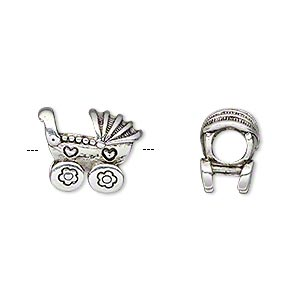 bead, antique silver-plated pewter (tin-based alloy), 15x12mm double-sided baby carriage with hearts, 5mm hole. sold individually.