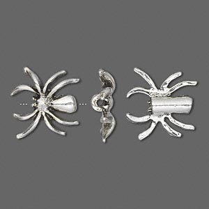 bead, antique silver-plated pewter (tin-based alloy), 15x15mm single-sided spider. sold per pkg of 4.