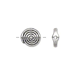 bead, antique silver-plated pewter (zinc-based alloy), 11mm double-sided flat round with spiral design. sold per pkg of 20.
