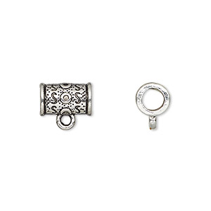 bead, antique silver-plated pewter (zinc-based alloy), 11x7mm tube with loop, 4mm hole. sold per pkg of 500.