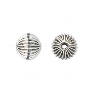 bead, antique silver-plated pewter (zinc-based alloy), 12mm hollow corrugated round with 2.75mm hole. sold per pkg of 10.