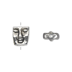 bead, antique silver-plated pewter (zinc-based alloy), 12x10mm double-sided face. sold per pkg of 20.
