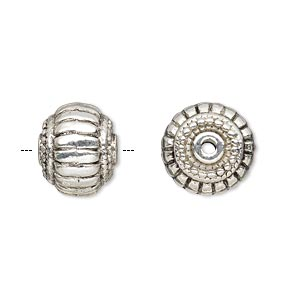 bead, antique silver-plated pewter (zinc-based alloy), 14x11mm fluted rondelle with 2.5mm hole. sold per pkg of 4.
