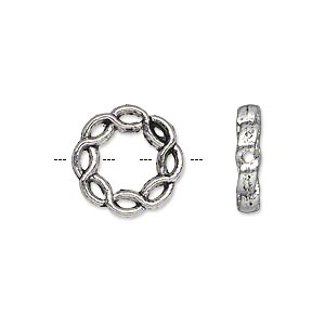 bead, antique silver-plated pewter (zinc-based alloy), 15mm double-sided round donut with twisted rope design. sold per pkg of 20.