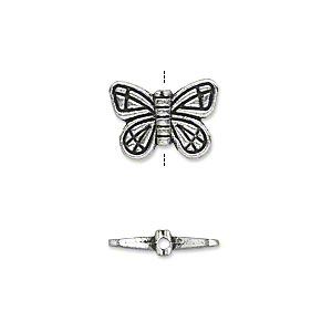 bead, antique silver-plated pewter (zinc-based alloy), 15x10mm double-sided butterfly. sold per pkg of 20.
