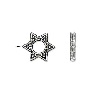 bead, antique silver-plated pewter (zinc-based alloy), 15x13mm double-sided star with cutout center, fits up to 5mm bead. sold per pkg of 20.