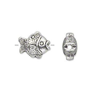 bead, antique silver-plated pewter (zinc-based alloy), 15x13mm double-sided puffed fish. sold per pkg of 10.