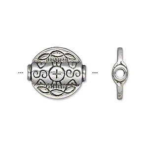 bead, antique silver-plated pewter (zinc-based alloy), 15x5mm double-sided flat round tube, 2mm hole. sold per pkg of 10.