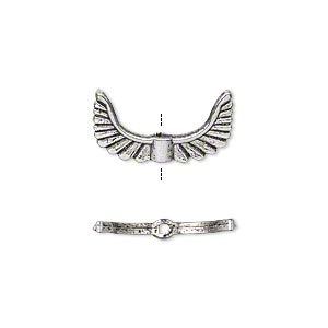 bead, antique silver-plated pewter (zinc-based alloy), 19x10mm double-sided angel wings. sold per pkg of 20.