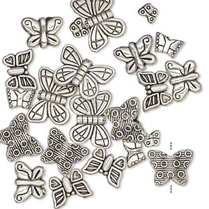 bead, antique silver-plated pewter (zinc-based alloy), 5x4mm-15x11mm assorted double-sided butterfly. sold per pkg of 24.