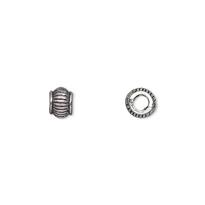 bead, antique silver-plated pewter (zinc-based alloy), 6x5mm rondelle with 3mm hole. sold per pkg of 500.