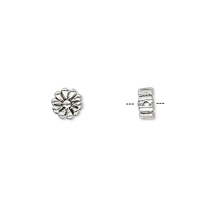 bead, antique silver-plated pewter (zinc-based alloy), 6x6mm double-sided flat round daisy. sold per pkg of 20.