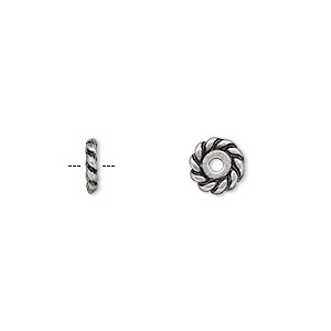 bead, antique silver-plated pewter (zinc-based alloy), 7x2mm rondelle with twisted rope design. sold per pkg of 24.