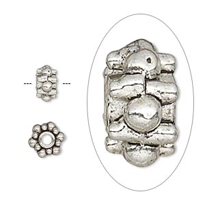 bead, antique silver-plated pewter (zinc-based alloy), 7x4mm beaded rondelle with 2mm hole. sold per pkg of 20.