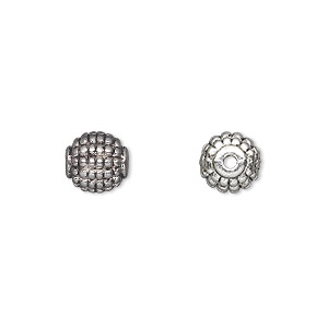bead, antique silver-plated pewter (zinc-based alloy), 8mm beaded round. sold per pkg of 20.