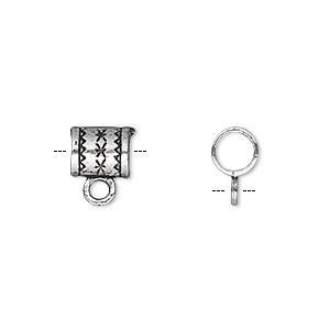 bead, antique silver-plated pewter (zinc-based alloy), 8x6mm double-sided tube with loop and 4mm hole. sold per pkg of 50.