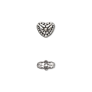 bead, antique silver-plated pewter (zinc-based alloy), 8x7mm double-sided heart. sold per pkg of 50.