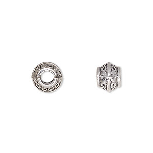 bead, antique silver-plated pewter (zinc-based alloy), 8x7mm rondelle, 4mm hole. sold per pkg of 500.