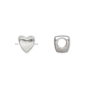 bead, antique silver-plated pewter (zinc-based alloy), 8x8mm double-sided heart with 3.5mm hole. sold per pkg of 20.