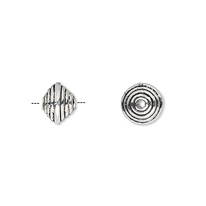 bead, antique silver-plated pewter (zinc-based alloy), 9x7mm double cone rondelle with swirls. sold per pkg of 20.