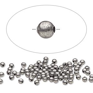 bead, antique silver-plated steel, 2.5mm round. sold per pkg of 100.