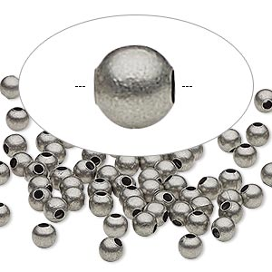 bead, antique silver-plated steel, 4mm round. sold per pkg of 100.