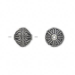bead, antique silver-plated white brass, 11mm fancy round with dot and teardrop accents. sold per pkg of 4.
