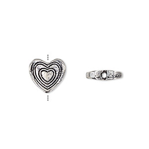 bead, antique silver-plated white brass, 11x10mm double-sided flat heart with heart design. sold per pkg of 4.