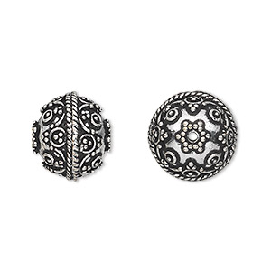 bead, antique silver-plated white brass, 13mm round with dot and braid accents. sold per pkg of 2.