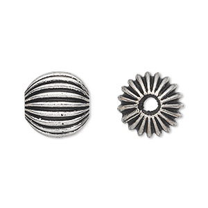 bead, antique silver-plated white brass, 14mm corrugated round with 2mm hole. sold per pkg of 2.