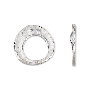 bead, antique silver-plated white brass, 20mm freeform go-go with 11.5mm center hole. sold per pkg of 2.