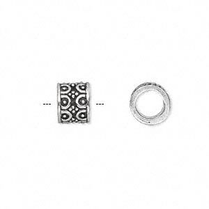 bead, antique silver-plated white brass, 9x7mm fancy tube with dots and half circle accents, 5.5mm hole. sold per pkg of 4.