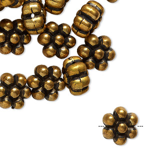 bead, antiqued brass-coated vintage german acrylic, 12x11.5mm flower. sold per pkg of 24.
