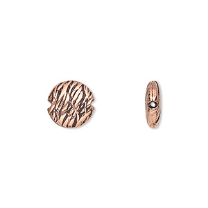 bead, antiqued copper, 10mm textured flat round with 0.6mm hole. sold per pkg of 20.