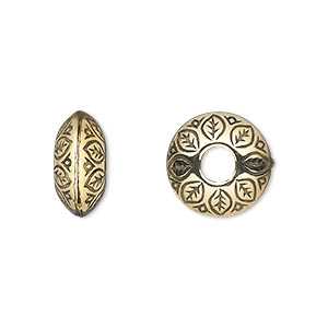 bead, antiqued gold-finished copper-coated plastic, 14x7mm rondelle with leaf design and 4.5mm hole. sold per 50-gram pkg, approximately 65 beads.